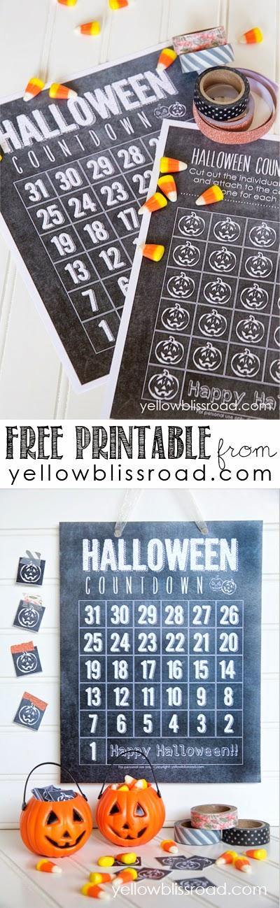 Halloween Countdown free printable title