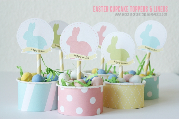 Easter Cupcake Topper and Liner Display